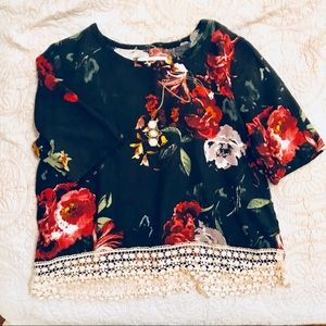 Embroidered Lace Floral Crop Tee